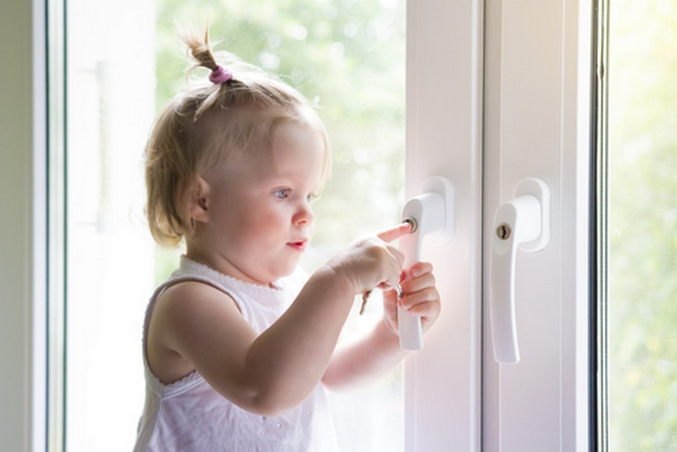 Child opens window with lock. Protection from falling out of chi